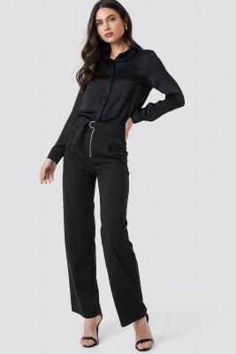 NA-KD High Waist Zip Detail Pants - Black