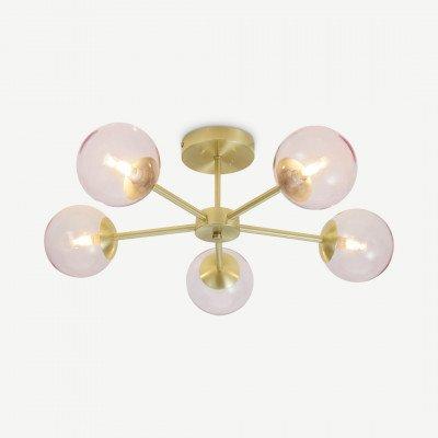 MADE.COM Globe Large inbouwhanglamp, geborsteld messing and lichtroze glas