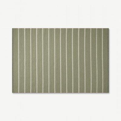 MADE.COM Hemsworth omkeerbaar wollen vloerkleed, groot 160 x 230 cm, lichtgroen en houtskoolgrijs
