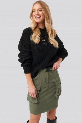 NA-KD Balloon Sleeve Ribbed Sweater - Black