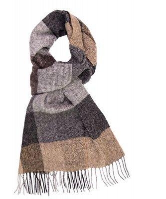 Profuomo Profuomo heren beige geruite wol-blend sjaal