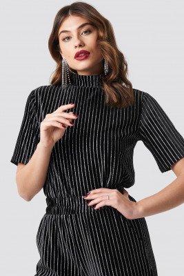 NA-KD Party NA-KD Party Striped Glittery Velvet Top - Black