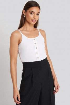 Trendyol Button Detailed Knitted Crop Top - White