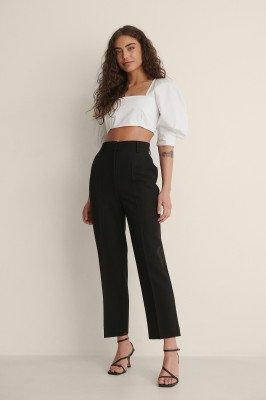 NA-KD Classic NA-KD Classic Cropped Pantalon Met Hoge Taille - Black