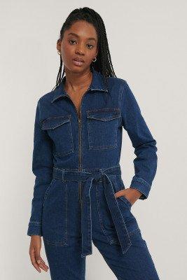 NA-KD Trend Jeansjumpsuit Met Ritsdetail - Blue