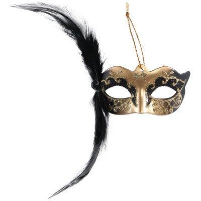 Firawonen.nl Venetian mask black hang mask with feather
