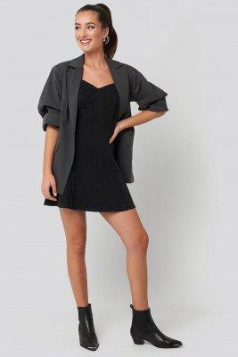 NA-KD Denim Sweetheart Neck Skater Dress - Black