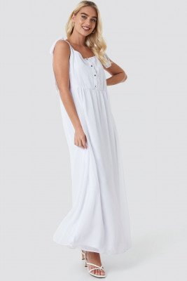 NA-KD Boho NA-KD Boho Tie Shoulder Maxi Dress - White
