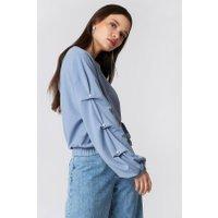 NA-KD Pearl Sleeve Detail Sweater - Blue
