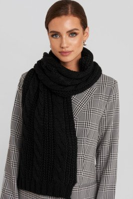 NA-KD Accessories NA-KD Accessories Cableknit Scarf - Black