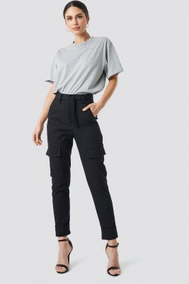 NA-KD Trend NA-KD Trend Tie Waist Patch Pocket Pants - Black