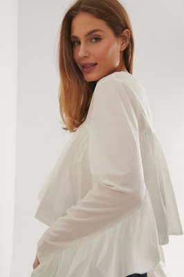Curated Styles Curated Styles Blouse Met Ingerimpelde Detail - White