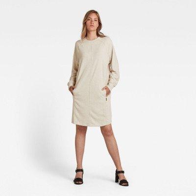 G-Star RAW Tweater Jurk Graphic Pocket - Beige - Dames