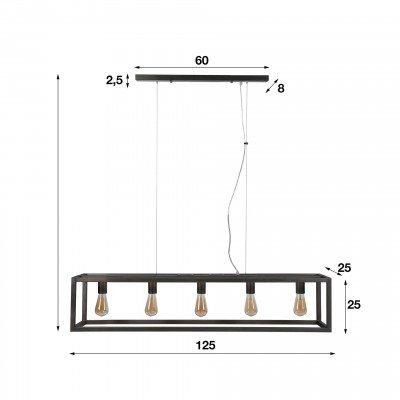 LifestyleFurn Industriële Hanglamp 'Terrance' 5-lamps