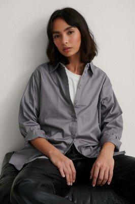 NA-KD Classic NA-KD Classic Gerecycleerd Oversized Shirt - Grey