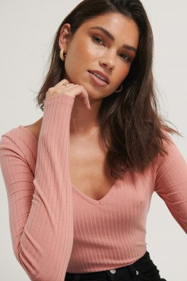 NA-KD Basic Ribbed Long Sleeve V-Neck Top - Pink