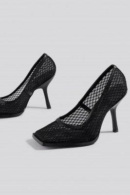 NA-KD Shoes NA-KD Shoes Squared Toe Mesh Pumps - Black