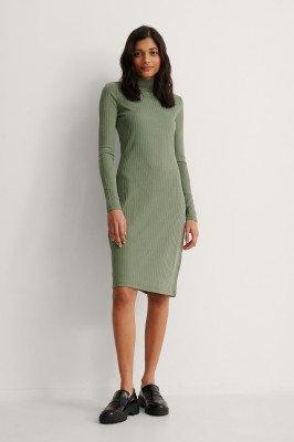 NA-KD Basic NA-KD Basic Gerecycleerd Geribde Midi-jurk Met Hoge Halslijn - Green