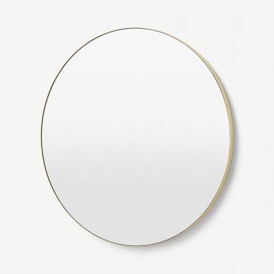 MADE.COM Arles ronde wandspiegel, extra groot, 100 cm, geborsteld messing