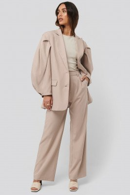NA-KD Classic NA-KD Classic Relaxed Fit Suit Pants - Beige