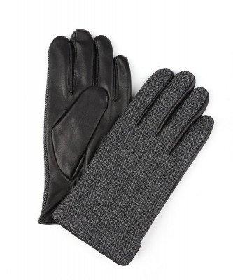 Profuomo Profuomo heren donkergrijs gebreide leren handschoenen