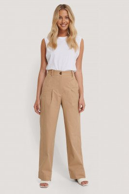 NA-KD Trend NA-KD Trend Heavy Cotton-blend Pants - Beige