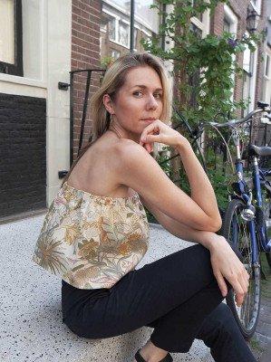 NOUMENON NOUMENON dames vegan Flowered Ruffle Top meerkleurig S