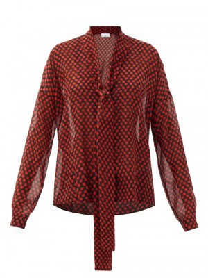 Matchesfashion Raey - Pussy-bow Polka-dot Silk Crepe De Chine Blouse - Womens - Red Print