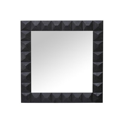 Firawonen.nl Twinn black mango wood mirror square