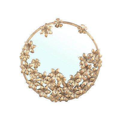 Firawonen.nl PTMD Luzia Gold ijzeren spiegel met bloemen rond