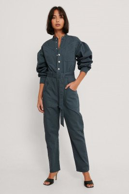 NA-KD Trend Gekleurde Jeansjumpsuit - Blue