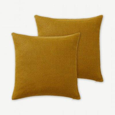 MADE.COM Adra kussen set van 2 100% linnen, 50 x 50cm, donker mosterdgeel