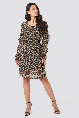 NA-KD NA-KD Ruffle Sleeve Dress - Brown