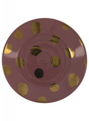 HEMA HEMA Gebaksbord - 17 Cm - Bergen - Roze Met Gouden Stip
