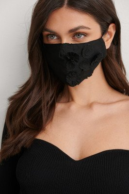 NA-KD Accessories NA-KD Accessories Flower Applique Face Mask - Black