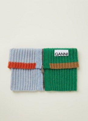 Ganni Ganni Grofgebreide ronde sjaal met rits 50 x 15 cm