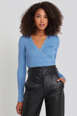 Trendyol Trendyol Wrap Knitted Top - Blue