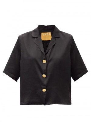 Matchesfashion S.a.r.k - Old Money Coin-button Cropped Silk-satin Shirt - Womens - Black