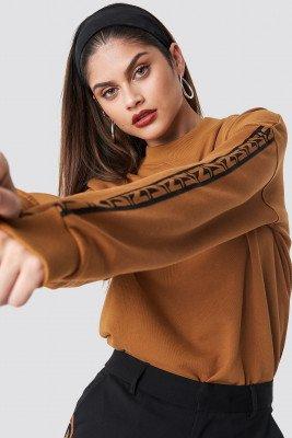 NA-KD Trend NA-KD Trend N Branded Stripe Sweatshirt - Brown
