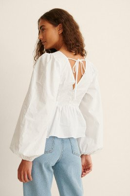 NA-KD Party NA-KD Party Organisch Blouse Met Open Rug - White