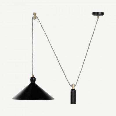 Ogilvy verstelbare hanglamp, mat zwart en messing