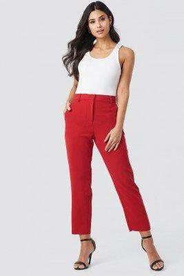 NA-KD Trend Raw Hem Pants - Red