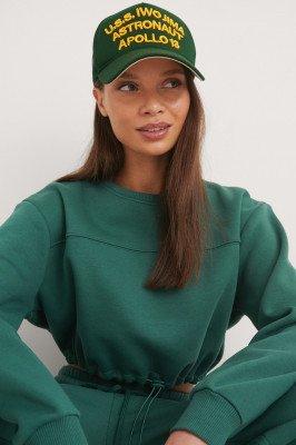 NA-KD NA-KD Organisch Organisch Geborstelde Cropped Sweatshirt - Green