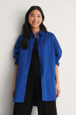 NA-KD Trend NA-KD Trend Gerecycleerd Oversized Shirt Met Zakken - Blue