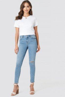 NA-KD NA-KD Low Rise Distressed Skinny Jeans - Blue