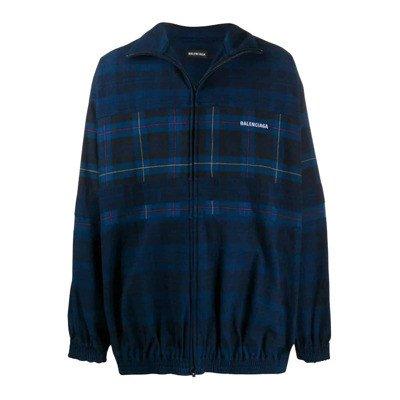 Balenciaga Plaid Zip-Up Jacket