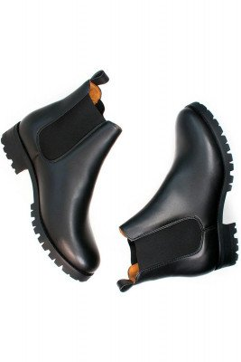 Will's Vegan Store Will's Vegan Store unisex vegan Chelsea Boots Luxe Deep Tread Zwart Zwart 36 Gerecycled rubber/Microfibre (micronappa, microsuède)/PU
