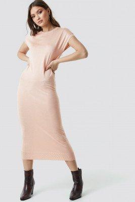 NA-KD NA-KD Sleeveless Midi Knit Dress - Pink