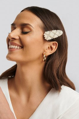 NA-KD Accessories NA-KD Accessories Bead and Rhinestone Hairclip - White