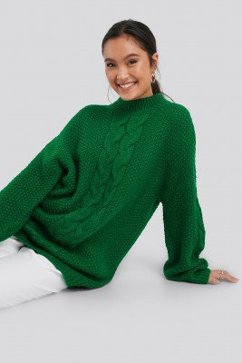 NA-KD NA-KD Oversized Cable Knitted Sweater - Green